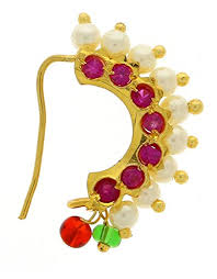 Buy Maharashtrian Traditional Nath Clip Vama Fashions Gold Plated Nose Pin Maharashtrian Style Design
