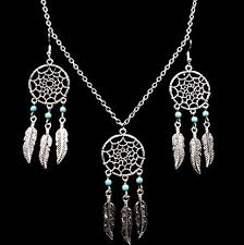 tibetan silver turquoise necklace images Dream catcher turquoise jewelry sets vintage leaf necklace and JPG