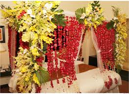 trend wedding bedroom decoration with flowers and candles interior