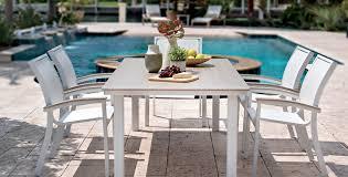 White Aluminum Patio Furniture by Telescope Bazza Off White Aluminum Sling Chairs U0026 Table Riley U0027s