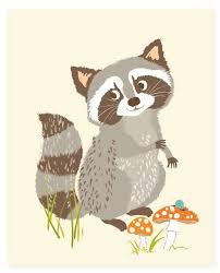 Raccoon Nursery Decor Raccoon Woodland Print 8x10 Nursery By Seaurchinstudio