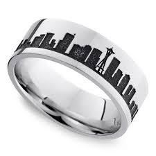seattle wedding band seattle skyline men s wedding ring in cobalt