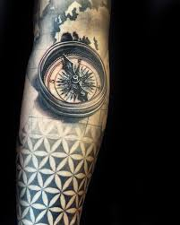 Male Flower Tattoos - compass 3d male flower of life forearm sleeve tattoos tattoos