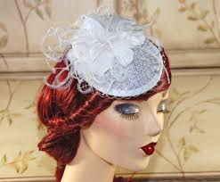 tea party hats white fascinator with birdcage veil bridal hat wedding