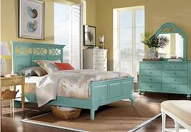 cindy crawford home seaside blue green panel 5 pc queen bedroom