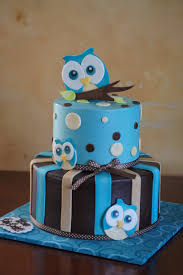 blue owl themed baby shower cake baby shower cakes pinterest