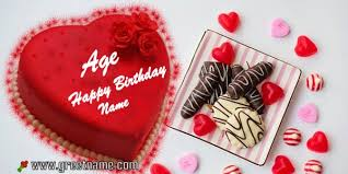 Heart Shaped Happy Birthday Cake With Name And Age For Him Greet