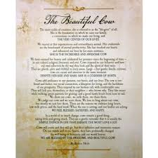 the beautufil cow verse only print featuring a verse of