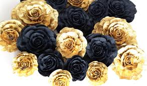 gold flowers 12 large crepe paper flowers glitter gold black