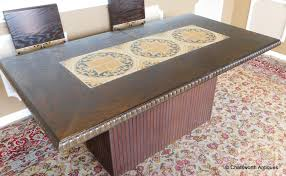 Spanish Style Dining Room Furniture by Good Spanish Style Oak Tile Top Pedestal Table W 2 Leaves U0026 8