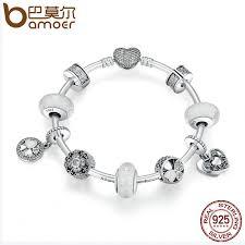 silver jewelry charm bracelet images Bamoer 925 sterling silver glittering hope petals clover heart jpg