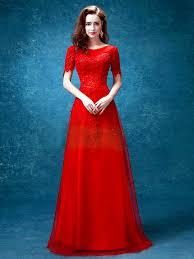 wedding evening dress sleeve neck lace a line evening dress