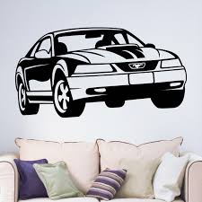 wall decals stickers home decor home furniture diy 99 ford mustang american car vinyl wall art sticker decal boys teenagers bedroom