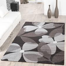 designer teppich designer teppich floral kurzflor modern braun konturenschnitt