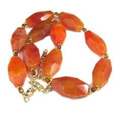 gold orange necklace images Orange fire agate statement short adjustable necklace large jpg