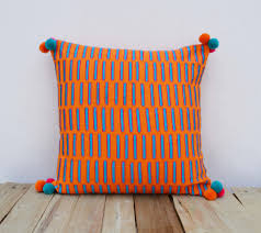 Tangerine Home Decor Tangerine Pillow Cover Embroidered Mola Style Pillows Standard
