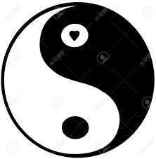 yin yang symbol small in top circle stock photo picture and