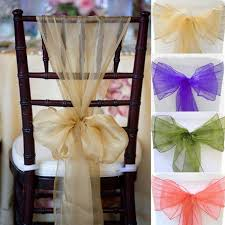 chair ribbons 1pc sweet chair cover organza sashes bow wedding party tie ribbon