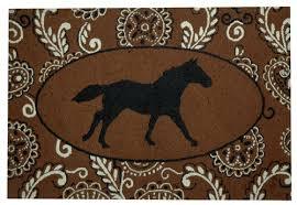 Rustic Rug Rustic Wool Hooked Rug Bandana Running Horse Cabin Place