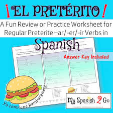 this is a great review or practice worksheet for regular preterite