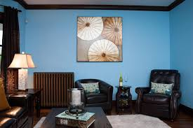 Living Room With Black Leather Furniture by Living Room Captivating Blue Painted Living Room Wall Combine