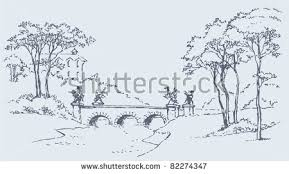 vector image sketch palace park landscape stock vector 82274347