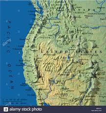 map maps usa california oregon washington state stock photo