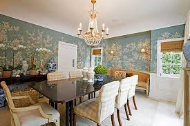 Wallpaper Designs For Dining Room Dining Room Covering Half The Wall With Wallpaper Is A Popular