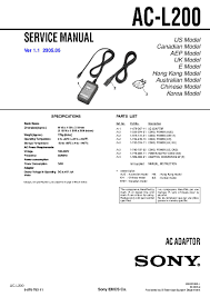 sony ac l200 service manual