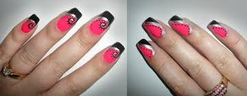 pink black and silver nail design pink black and silver nail