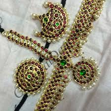 bharatanatyam hair accessories set with kemp stones real temple jewellery for
