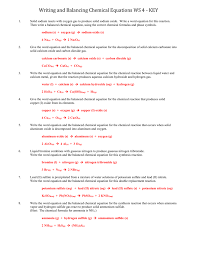 writing and balancing chemical equations ws 4