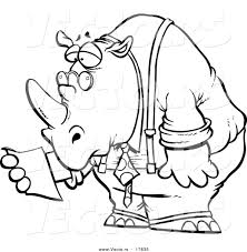 vector of a cartoon business rhino reading a memo coloring page