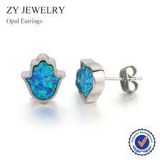 opal earrings stud fashion hamsa opal earrings high quality peacock blue opal