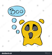 halloween background emoji cute scary ghost emoticon say boo stock vector 611079476