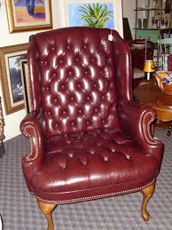Vintage Brown Leather Chair Furniture Vintage Leather Wingback Chair With Black Wood Legs For