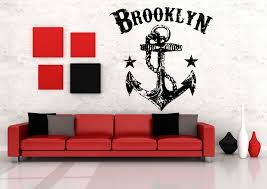 wall vinyl sticker room decal mural design anchor brooklyn star wall vinyl sticker room decal mural design anchor brooklyn star rope sea bo2118