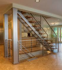 custom dual stringer stainless steel floating straight stair with