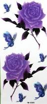 amazon com purple rose and butterfly tattoo stickers beauty