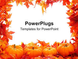 Halloween Border Templates by Powerpoint Template Autumn Fall Colored Leaves With Pumpkins