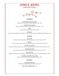 Filet Mignon Menu Gino U0027s Bistro Federal Way Washington Menu Prices Restaurant