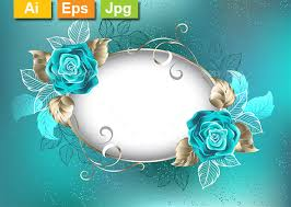 turquoise roses oval banner with turquoise roses by blackmoon9 graphicriver