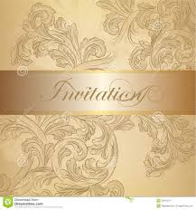 Elegant Invitation Cards Vector Swirl Invitation Card In Golden Color Stock Images Image