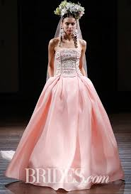 pink embroidered wedding dress naeem khan wedding dresses fall 2016 bridal runway shows