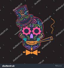 skull vector gentleman bow tie ornament stock vector 558416452