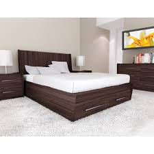 bed design with side table brown polished wooden storage bed with white sheet and pillows on