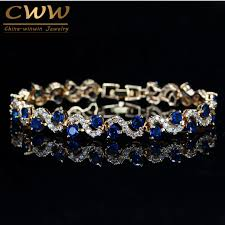 blue crystal bracelet images Cwwzircons design trendy gold color white cubic zirconia stone and jpg