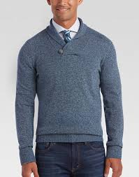 joseph abboud blue shawl collar sweater s sweaters
