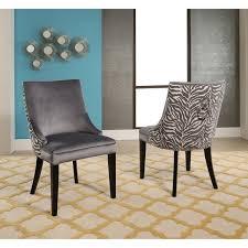 abbyson esther grey velvet zebra dining chair set of 2 free