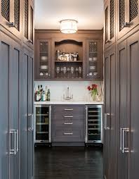 Bar Cabinet With Wine Cooler New York Butler Pantry Home Bar Transitional With Wine